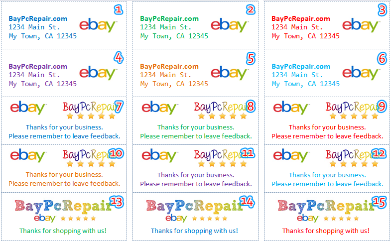 Address label for Ebay shipping label template