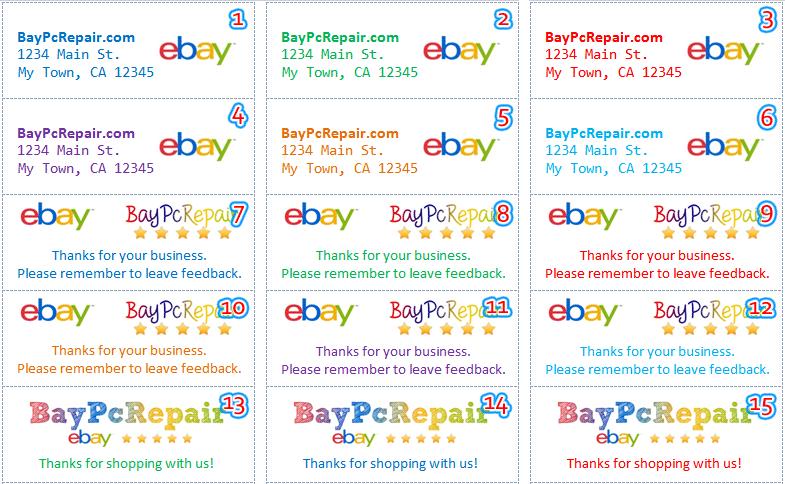 Custom return address labels ebay seller